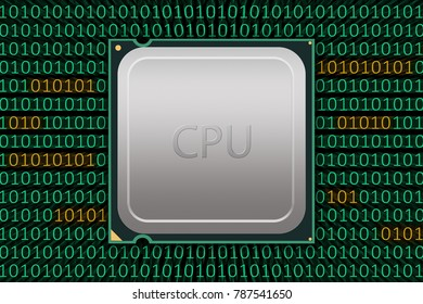 Generic CPU Labeled with Bad Code - Illustration depicting a generic CPU package working with bad code or meltdown security flaw on black background.