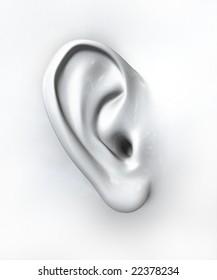 Generic ear on white background
