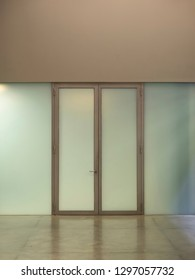 Generic internal glass door and wall panels architectural detail background