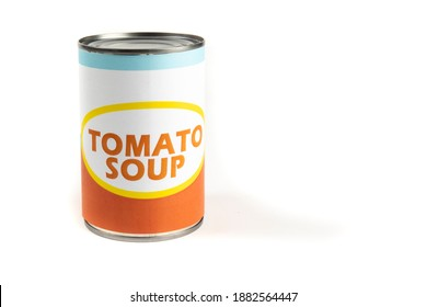 A generic labelled food can of tomato soup isolated on white
