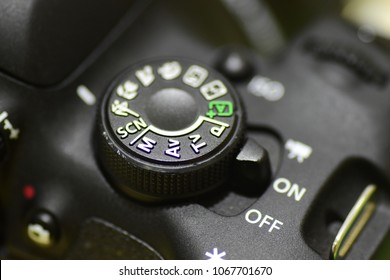 Generic mode dial for digital cameras showing some of the most common modes.