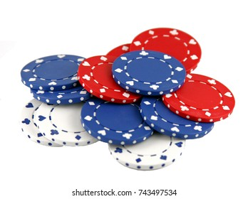 Generic mold poker casino chips isolated on white.