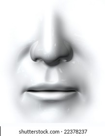 Generic nose and mouth on white background