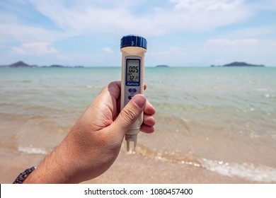Generic Salinity Meter with Temperature,  Water Quality Tester is using on the sea for marine science