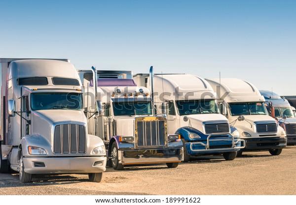 Generic semi Trucks at a parking lot
