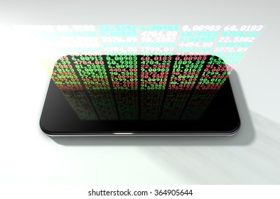 A generic smartphone projecting a hologram of a digital stock market indicator board with green and red numbers