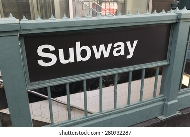 Generic subway sign and entrance - landscape exterior