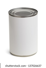 Generic Tin Can with Copy Space Isolated on a White Background.