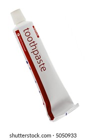 a generic toothpaste in white tube on white