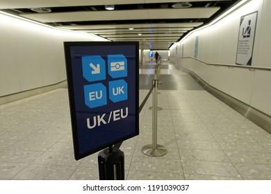 A Generic UK/EU Lane Sign Leading to Passport Control at a British Airport