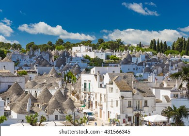 Generic view of Alberobello with trulli roofs and terraces, Apulia region, Southern Italy