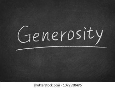 generosity concept word on a blackboard background