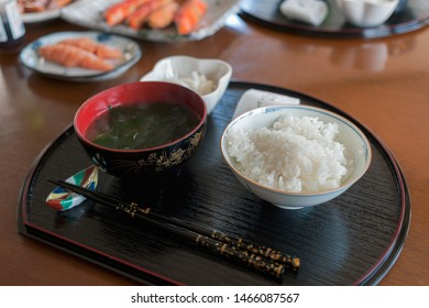 Generous Rice bowl with Japanese seaweed miso soup for the breakfast