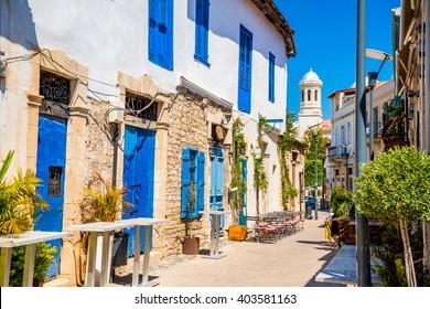 Genethliou Mitellla street, a touristic street leading to Ayia Napa Cathedral. Limassol, Cyprus.