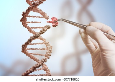 Genetic engineering and gene manipulation concept. Hand is replacing part of a DNA molecule. 3D rendered illustration of DNA.