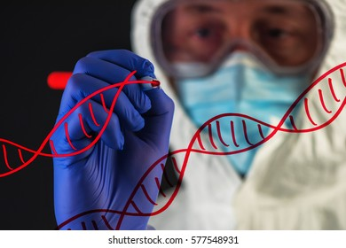 Genetic engineering and science, scientist wearing protective clothing working in laboratory