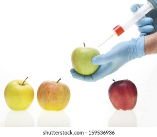 Genetic experiment with four different sorts of apples