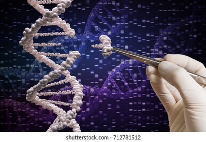 Genetic manipulation and DNA modification concept.