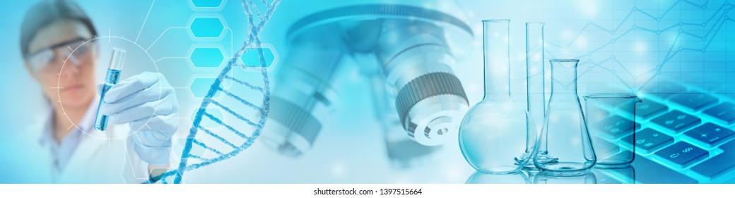 abstraktes Konzept der genetischen Forschung, 3D-Illustration