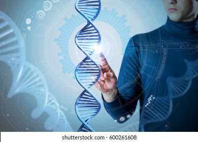 genetic technology concept, gene engineering, 3d rendering, abstract image visual