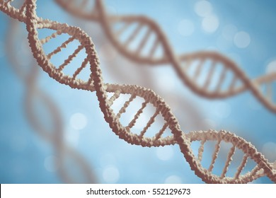 Genetics and microbiology concept. DNA molecules on blue background. 3D rendered illustration.