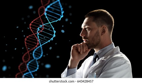 genetics, science and people concept - male doctor or scientist in white coat looking at virtual projection of dna molecule over black background
