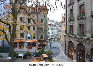 GENEVA - 12 November 2016. Street of Old Town with different shops in Geneva, Switzerland
