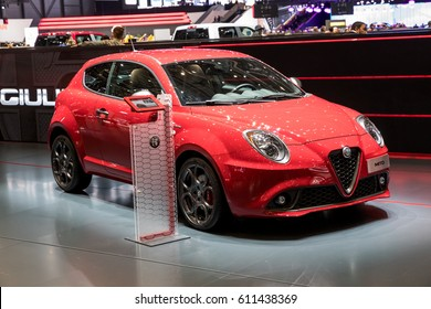 GENEVA 2017: Alfa Romeo mito car on display at 87th international Geneva motor Show at Palexpo-Geneva on March 9, 2017 at Geneva, Switzerland.