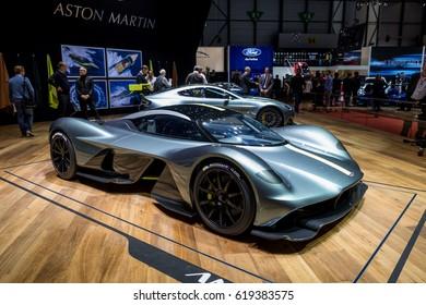 GENEVA 2017: Aston martin AMR car on display at 87th international Geneva motor Show at Palexpo-Geneva on March 9, 2017 at Geneva, Switzerland.