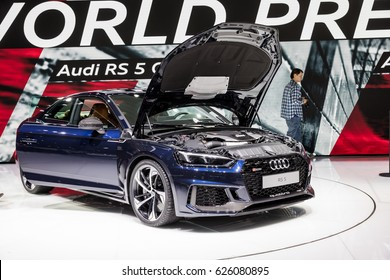 GENEVA 2017: Audi RS 5 quattro car on display at 87th international Geneva motor Show at Palexpo-Geneva on March 9, 2017 at Geneva, Switzerland.