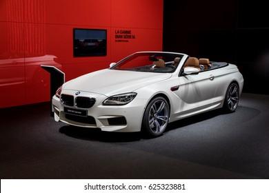 GENEVA 2017: BMW M6 Cabriolet car on display at 87th international Geneva motor Show at Palexpo-Geneva on March 9, 2017 at Geneva, Switzerland.