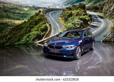 GENEVA 2017: BMW serie 5 Touring car on display at 87th international Geneva motor Show at Palexpo-Geneva on March 9, 2017 at Geneva, Switzerland.