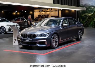 GENEVA 2017: BMW serie 7 car on display at 87th international Geneva motor Show at Palexpo-Geneva on March 9, 2017 at Geneva, Switzerland.