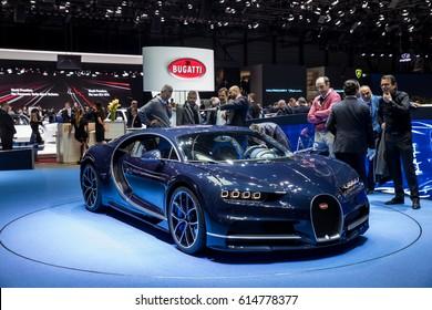 GENEVA 2017: Bugatti Chiron car on display at 87th international Geneva motor Show at Palexpo-Geneva on March 9, 2017 at Geneva, Switzerland.