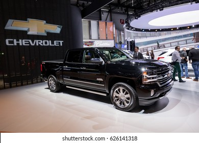 GENEVA 2017: Chevrolet Silverado High Country car on display at 87th international Geneva motor Show at Palexpo-Geneva on March 9, 2017 at Geneva, Switzerland.