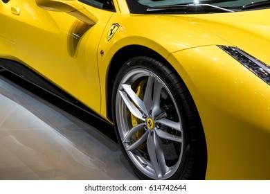 GENEVA 2017: Ferrari 488 GTB car on display at 87th international Geneva motor Show at Palexpo-Geneva on March 9, 2017 at Geneva, Switzerland.