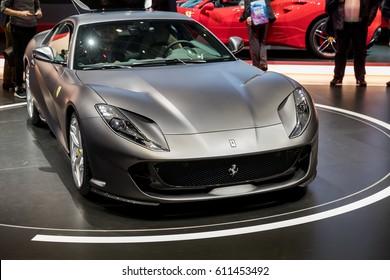 GENEVA 2017: Ferrari 812 Superfast car on display at 87th international Geneva motor Show at Palexpo-Geneva on March 9, 2017 at Geneva, Switzerland.