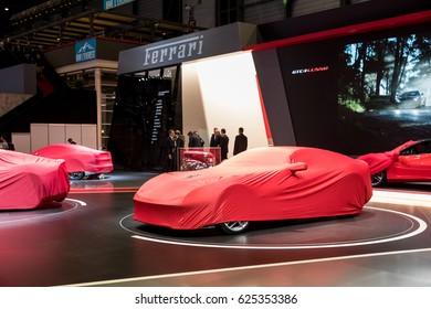 GENEVA 2017: Ferrari 812 Superfast car with cover on display at 87th international Geneva motor Show at Palexpo-Geneva on March 9, 2017 at Geneva, Switzerland.