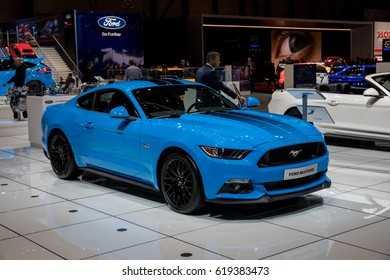 GENEVA 2017: Ford Mustang car on display at 87th international Geneva motor Show at Palexpo-Geneva on March 9, 2017 at Geneva, Switzerland.