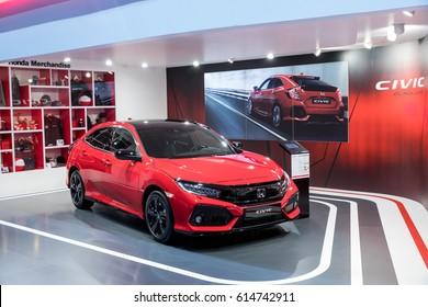 GENEVA 2017: Honda CIVIC car on display at 87th international Geneva motor Show at Palexpo-Geneva on March 9, 2017 at Geneva, Switzerland.