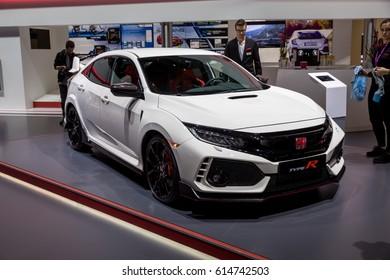 GENEVA 2017: Honda Civic Type R car on display at 87th international Geneva motor Show at Palexpo-Geneva on March 9, 2017 at Geneva, Switzerland.