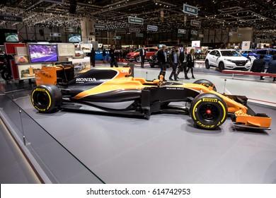 GENEVA 2017: Honda McLaren Formula 1 MCL32 car on display at 87th international Geneva motor Show at Palexpo-Geneva on March 9, 2017 at Geneva, Switzerland.