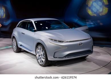 GENEVA 2017: Hyundai FE Fuel Cell Concept car on display at 87th international Geneva motor Show at Palexpo-Geneva on March 9, 2017 at Geneva, Switzerland.