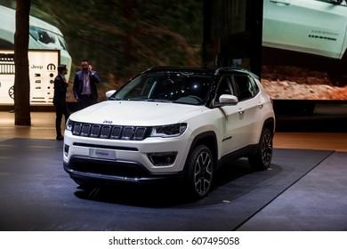 GENEVA 2017: JEEP Compass car on display at 87th international Geneva motor Show at Palexpo-Geneva on March 9, 2017 at Geneva, Switzerland.
