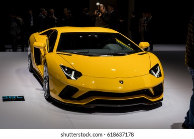 GENEVA 2017: Lamborghini Aventador s car on display at 87th international Geneva motor Show at Palexpo-Geneva on March 9, 2017 at Geneva, Switzerland.