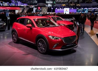 GENEVA 2017: Mazda CX-3 car on display at 87th international Geneva motor Show at Palexpo-Geneva on March 9, 2017 at Geneva, Switzerland.
