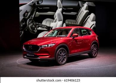 GENEVA 2017: Mazda  CX-5 car on display at 87th international Geneva motor Show at Palexpo-Geneva on March 9, 2017 at Geneva, Switzerland.