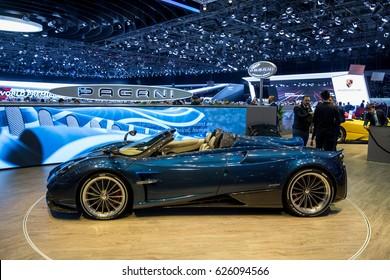 GENEVA 2017: Pagani Huayra Roadster car on display at 87th international Geneva motor Show at Palexpo-Geneva on March 9, 2017 at Geneva, Switzerland.