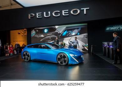 GENEVA 2017: Peugeot Instinct self-driving concept car on display at 87th international Geneva motor Show at Palexpo-Geneva on March 9, 2017 at Geneva, Switzerland.