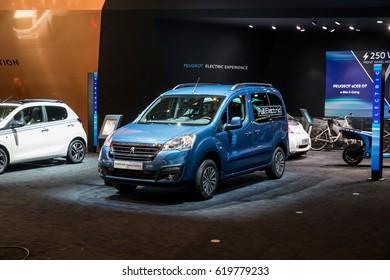 GENEVA 2017: Peugeot Partner Tepee Electric car on display at 87th international Geneva motor Show at Palexpo-Geneva on March 9, 2017 at Geneva, Switzerland.